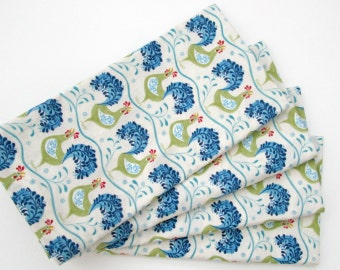Large Cloth Napkins - Set of 4 - Blue Green Cream Off-White Chickens Birds Animals - Dinner, Table, Everyday