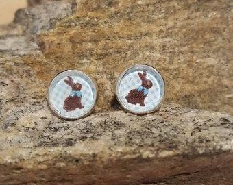 Blue Chocolate Bunny Earrings