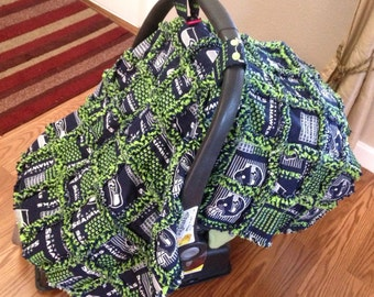Car Seat Cover/Canopy - Seattle Seahawks Print - Cotton Flannel Rag Quilt