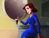 AGENT CARTER (Marvel) limited edition art painting print, signed by Leann Hill