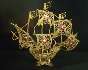 Vintage  Gold Fire Filigree Spanish Galleon  Model Sailing Ship With Red Enamel Cross