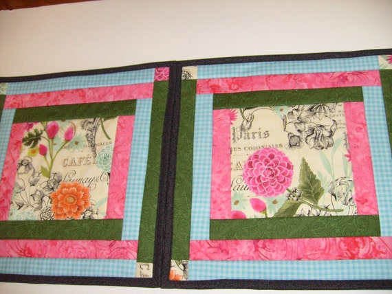 Floral placemats set of four quilted placemats garden for Small square placemats