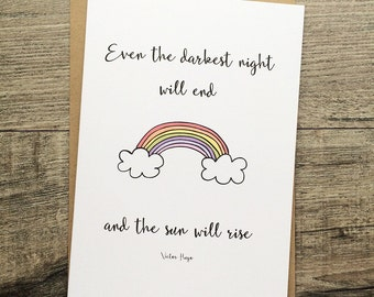 Handmade greeting card, miscarriage, baby loss, positive quote. Les mis. Rainbow. Thinking of you, sympathy.
