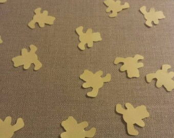 100 light yellow teddy bears- Hand punched bear confetti