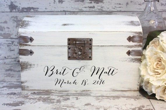 Boho Wedding Card Box Engraved With Bride And Groom\'s Name