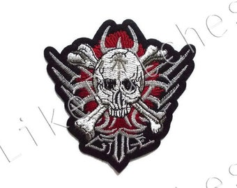 Skull Cross bones Red Fire Ghost Halloween New Sew / Iron On Patch Embroidery Applique Size 9cm.x9cm.