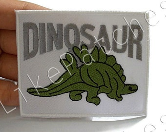 Green Stegosaurus DINOSAUR - Jurassic Dinosaur Prehistoric - White Patch New Sew / Iron On Patch Embroidered Applique Size 8.1cm.x6.5cm.