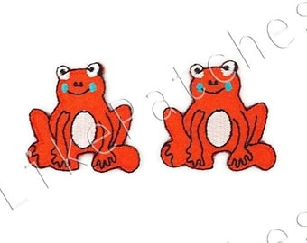 Set 2pcs. Orange Frog New Sew / Iron On Patches Embroidered Applique Size 3.8cm.x3.7cm.