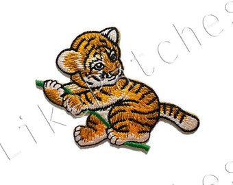 Baby Tiger Sweet Cute Animal New Sew / Iron On Patch Embroidered Applique Size 8.8cm.x6.7cm.