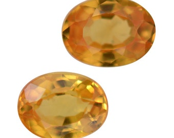 Yellow Sapphire Set of 2 Loose Gemstones Oval Cut 1A Quality 4x3mm TGW 0.40 cts.