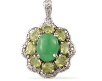 Green Jade Dyed Oval 1.85 Ct, Hebei Peridot, Diamond Pendant in Platinum Overlay Sterling Silver Nickel Free