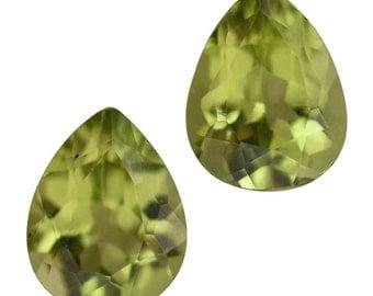 Hebei Peridot Loose Gemstones Set of 2 Pear Cut 1A Quality 9x7mm TGW 2.85 cts.