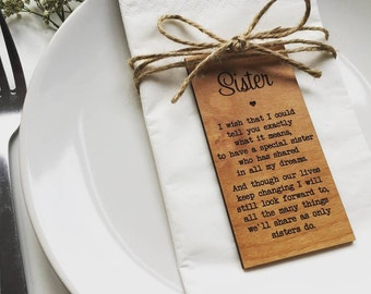 Sister Wooden Place Setting