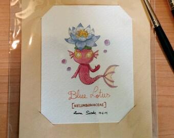 Original Watercolor / Blue Lotus