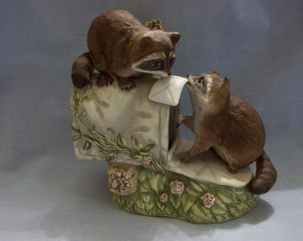 Homco Masterpiece Porcelain Figurine Raccoons at the Mailbox