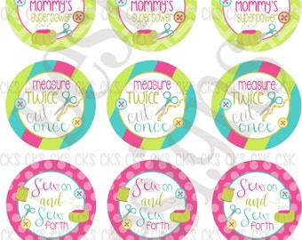 "1"" Digital Bottle Cap Sheet **INSTANT DOWNLOAD** Sew Cute Sewing"