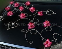 Dark pink orchids Wedding Car Deco Kit Artificial Flowers DEK1064 HTI !