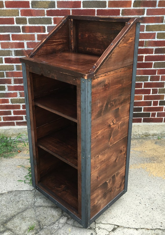 Rustic Industrial Reclaimed Wood Hostess Host Stand