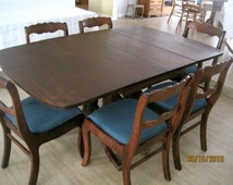 Duncan Phyfe Drop Leaf Mahogony Table & 6 Roseback Chairs by Tell City -Expands to 8 ft