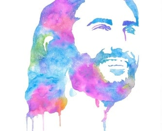Cool-toned watercolor painting of Jesus Christ the Savior