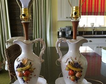 Vintage Porcelain and Wood Pitcher & Fruit Lamp Pair