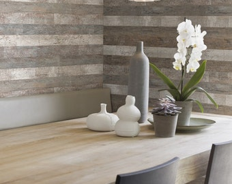 Rustic Faux Finish Wood Plank Wallpaper