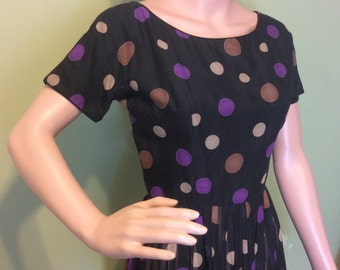 1950s Black Dot Dress, XXS-XS, as-is