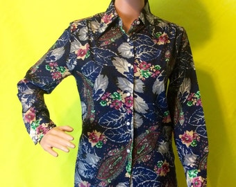 1970s Navy Floral Blouse, XS-S