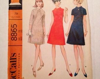 1967 McCall's Pattern # 8865 Dress, Misses Size 12, Uncut