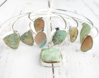 Earthy Boho Birthday Set-Summer Jewelry Trend-Bohemian Jewelry-Summer Boho Bracelets and Turquoise Pendant Necklace-Bohemian Gift For Her