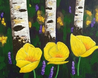 Aspens and Poppies, Aspens Painting, Yellow Poppies, Original Art, Gift Idea, Gift for Her, 12x12 in, Valentine Gift, FREE Shipping