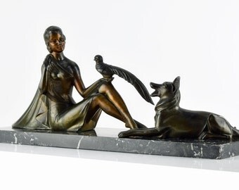 Art Deco MOLINS BALLESTE French lady with dog and bird sculpture circa 1930