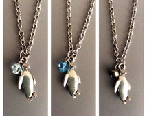 Penguin Charm Necklace With Pearl/ Swarovski Crystal