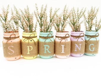 Set of 3 mason jars mason jars easter decor easter spring mason jars spring decor mason jars easter decor shabby chic negle Choice Image