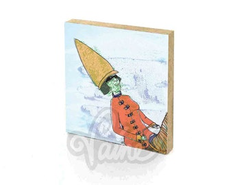 Illustration Glicee Print on wood Homedecoration Girls room Present for girlfriend Girlpower To scale miniatures