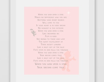 When You Wish Upon A Star, Pinocchio Quote Print (Pink Version)