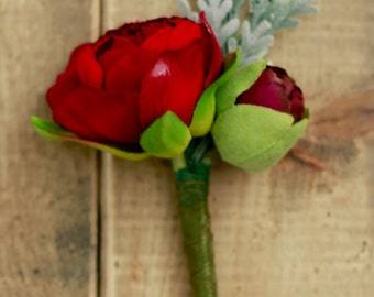 Boutonniere in Burgundy and Red