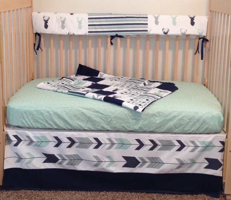 Mint and Navy deer crib bedding navy and by