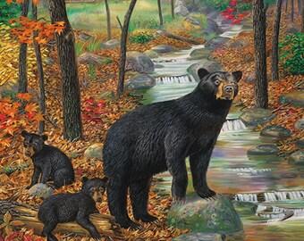 Black Bear Wall Decor, Large Wall Art Print, Large Bear Painting, Bear Cabin Wall Art, Bear Poster, Bear Print, Bear Art, Wildlife Art-5418