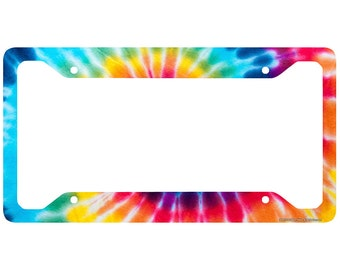Tie Dye License Plate Frame, Tie Dye Car Tag Frame, Tie Dye License Plate Holder, Tie Dye Peace Decorative License Plate Frame-30-615