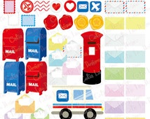 Mail Clipart - Postage  Letters , Stamps , Envelope digital clipart,  Mail box clip art (CG199)