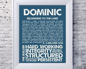 DOMINIC Personalized Name Print / Typography Print / Detailed Name Definitions / Numerology-calculated Destiny Traits / Educational