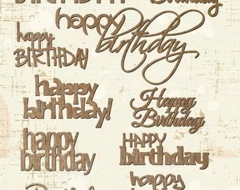 Happy Birthday Laser Cut Chipboard Embellishments