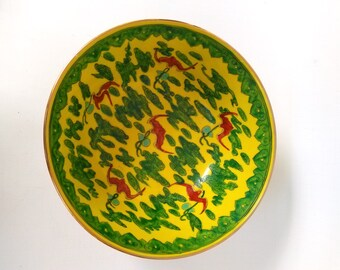 Vintage Japanese Porcelain Ware Large Yellow Green Red Bird Bowl Gold Accents Hong Kong T.F.F.