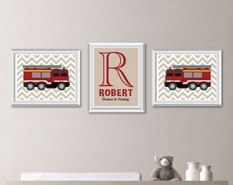 Baby Boy Nursery Art. Boy Nursery Decor.  Fire Truck Wall Art. Fire Truck Nursery Art. Boy Bedroom Art. Firetruck. Fireman Wall Art (NS-771)