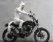 UNICORN Halloween Costume for Men and Women - Blamo Knit Pajamas with Pockets  - Adult White Unicorn One Piece Long Johns - Unicorn Horn