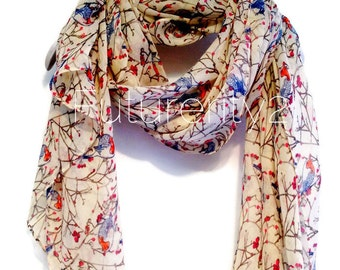 Birds Beige Autumn / Spring Summer Scarf / Gift For Her / Women Scarves / Fashion Accessories