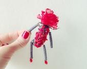 Flower Art Brooch - Handmade Brooch - Silk Flower - Heart - Red - Red Rose - Valentine - Fabric Brooch - Lapel Pin - Gift Idea for Her