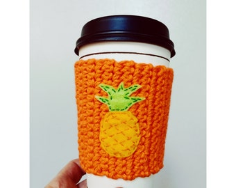 Knitted Coffee Cozy // Pineapple // Orange Coffee Cozy // Eco-Friendly