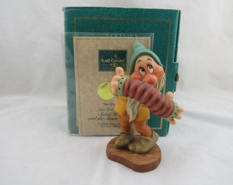 """WDCC """"Aw Shucks"""" Bashful from Disney's Snow White and the Seven Dwarfs Box COA"""